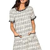 Floerns Tweed Short Sleeve Shift Tunic Dress