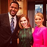 Michael Strahan and Kelly Ripa hosted Scarlett Johansson on their morning show and posed for a snap backstage.  Source: Twitter user michaelstrahan
