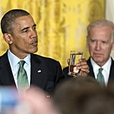 President Obama proposed a toast at the White House St. Patrick's Day reception.