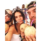 Kendall Jenner sipped coconut water with her friends. Source: Instagram user kendalljenner