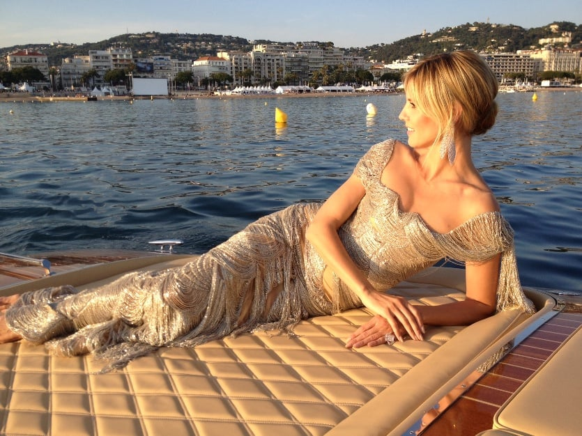 Heidi Klum channeled a mermaid while taking a boat to the Cannes Film Festival red carpet.  Source: Twitter user heidiklum