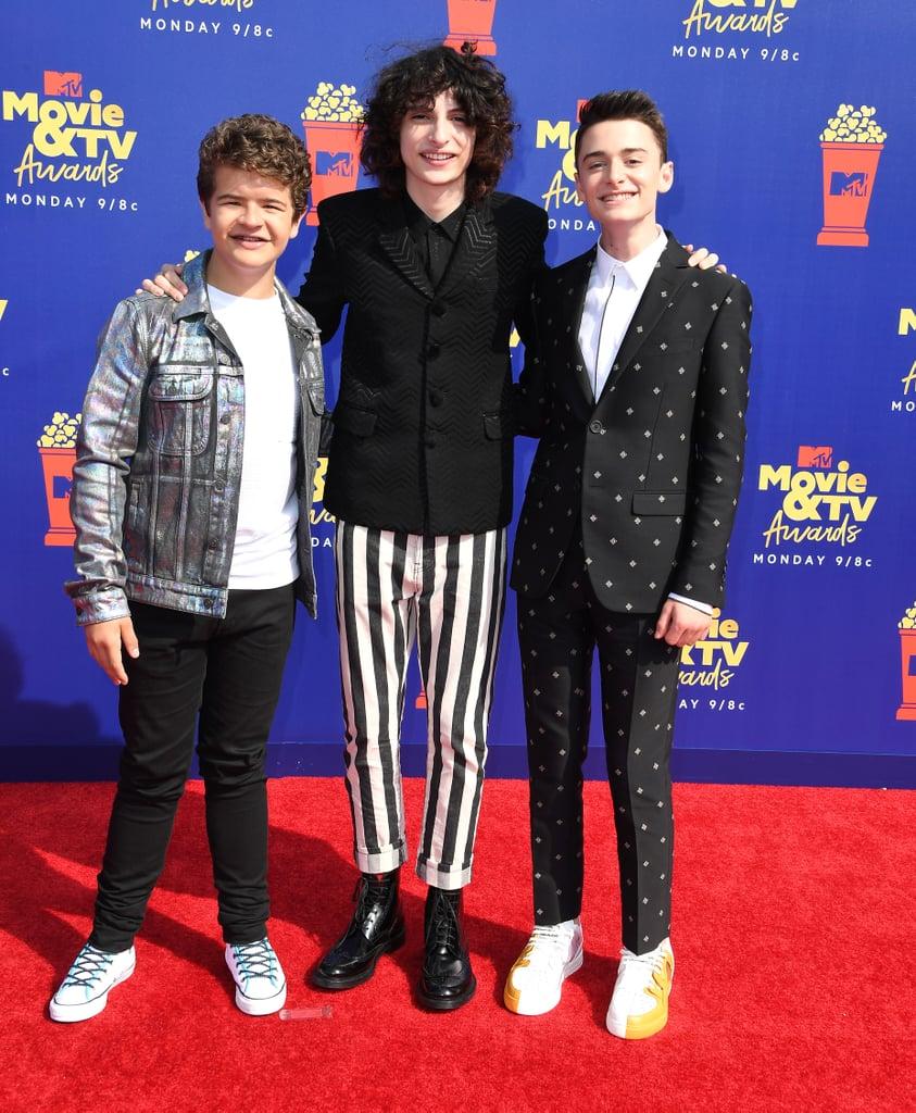Gaten Matarazzo, Finn Wolfhard, and Noah Schnapp at the 2019 MTV Movie and TV Awards