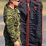 Prince William's personalized garment bag.