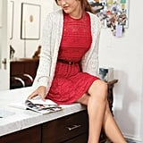 "Steal this easy styling tip from Garance: ""Wearing a little cardigan over a dress is a way to make it not too obvious."" Sunday Cardi ($69) and Long-Sleeve Lace Fit-and-Flare Dress ($69) Source: Macy's"