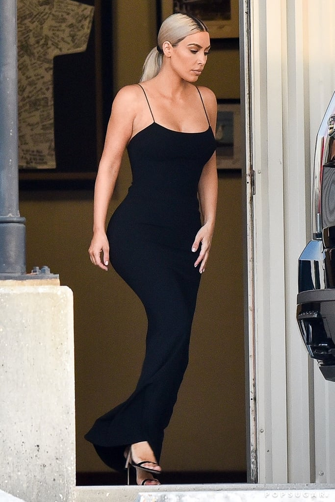 Kim Kardashian Black Yeezy Dress at Serena Williams Wedding