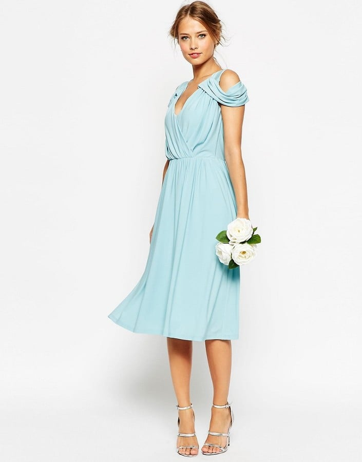 ASOS Wedding Drape Cold Shoulder Midi Dress (£23) | Bridesmaid ...