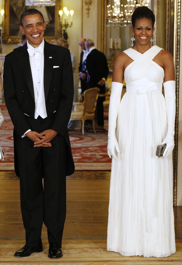 Wearing Tom Ford at a state banquet at Buckingham Palace in 2011.