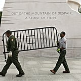 US Park Service workers removed a barricade at the Martin Luther King Jr. memorial in DC.