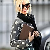 Gwen Stefani wearing polka dots in London.