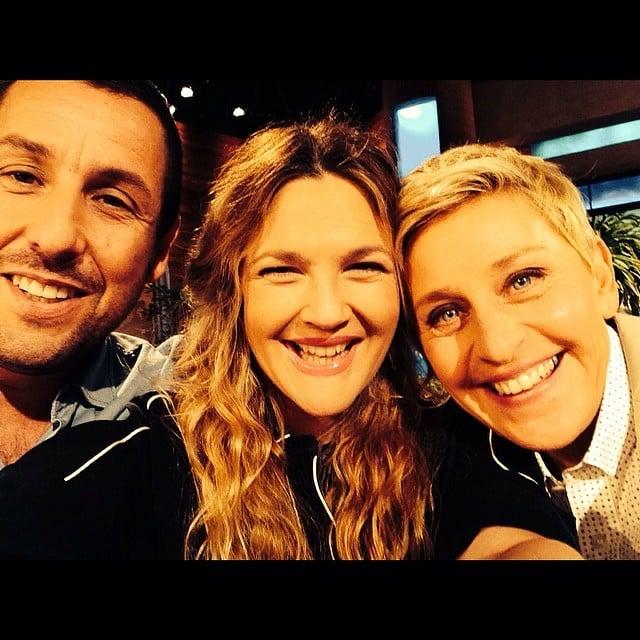 Drew Barrymore snapped a selfie with Adam Sandler and Ellen DeGeneres. Source: Instagram user drewbarrymore