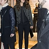 Mila Kunis sported a patterned blazer to the event.