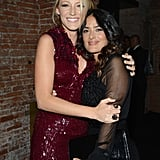 Blake Lively and Salma Hayek embraced at the Gucci fragrance luanch party in Venice.