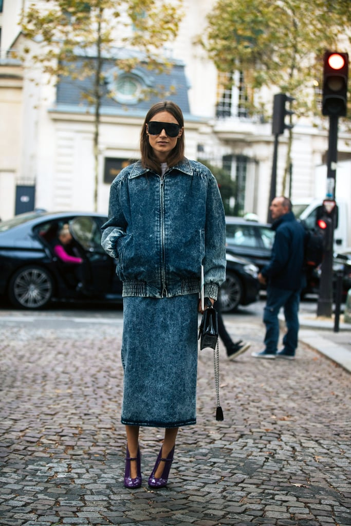 A denim jacket and midi skirt put a ladylike spin on the casual-cool combo.