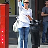 Cameron Diaz wore a white sweater while hailing a taxi in NYC.