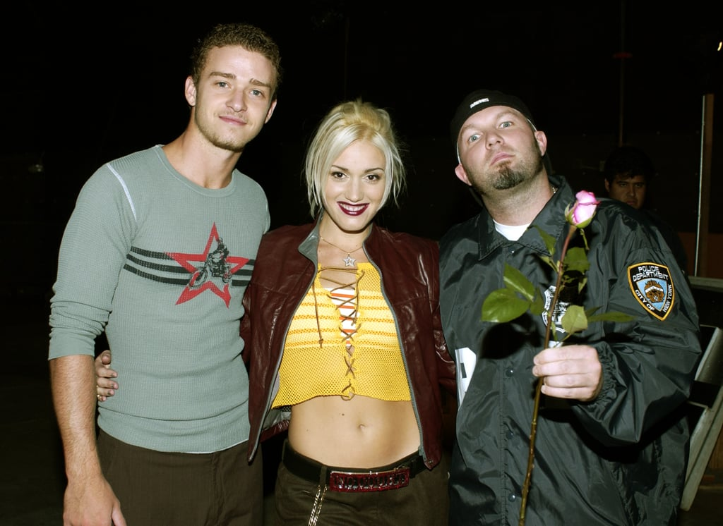 """Justin joined up with Gwen Stefani (and Fred Durst) in October 2001 while shooting a video in LA for their song """"What's Going On,"""" which benefited AIDS charities worldwide."""