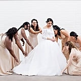This bridal party had the bride's back in their beige gowns.