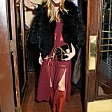 Olivia arrived at her collection launch party looking every bit the chic designer.