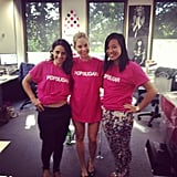New team uniform! Marisa, Ali and Jess put their individual spins on the POPSUGAR t-shirt.