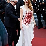 She wore a custom Zuhair Murad gown, Piaget jewelry, and Christian Louboutin shoes to close out the 2017 Cannes Film Festival.