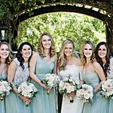 These five bridesmaids wore four different styles of seafoam green dresses.
