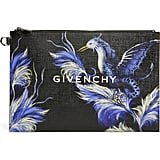 Pocahontas: Givenchy Medium Black Feather Bird Faux Leather Pouch