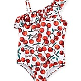 Milly Minis One-Shoulder Ruffle Cherry-Print One-Piece Swimsuit