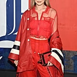 "Gigi Wore an All-Red Outfit Topped With a ""Vintage"" Tommy Hilfiger Jacket"