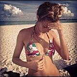 Jennifer Hawkins wore one of her Cozi bikinis at the Maldives. Source: Instagram user jenhawkins_