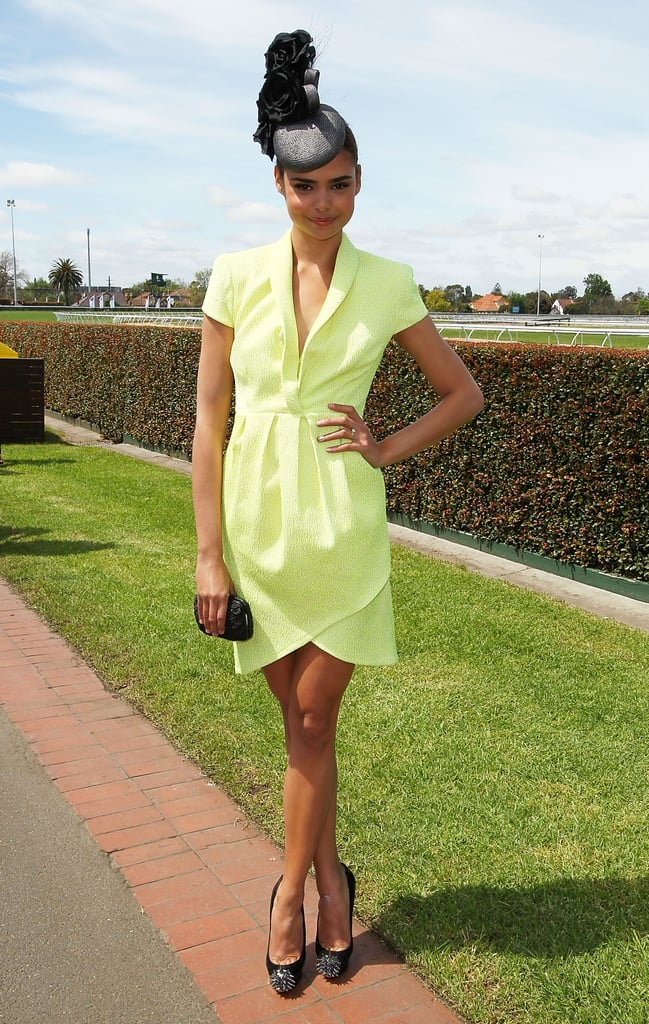 Samantha Harris wore a bright yellow Thurley dress and Christian Louboutin heels.