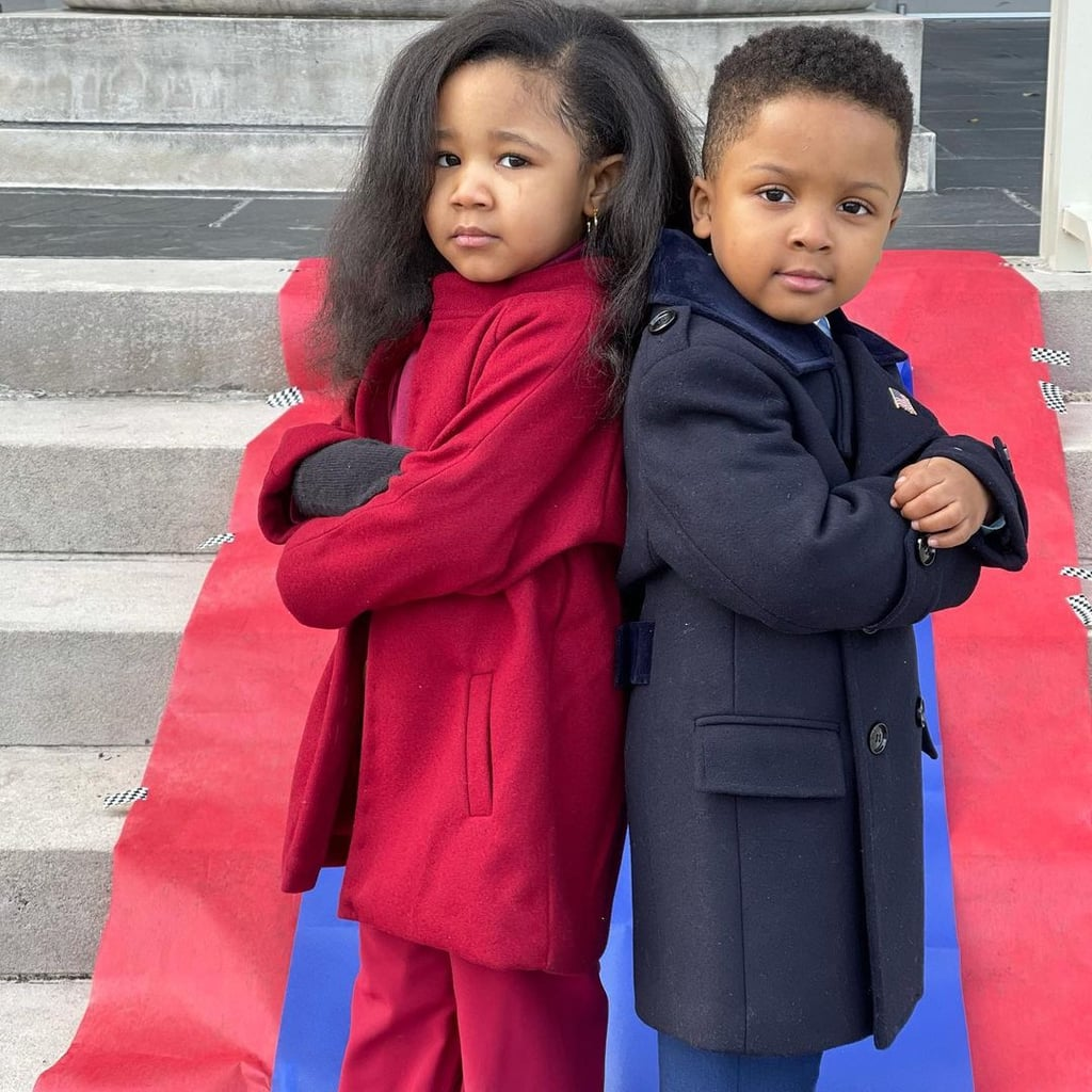 """While Joe Biden's presidential inauguration was incredibly moving for so many reasons, there were also some major fashion moments — like the Bidens wearing monochromatic coats! — that we'll be drawing major inspiration from in the coming months. Former first lady Michelle Obama turned heads in a light-plum suit by Sergio Hudson, and with the help of her mom, a toddler named Ryleigh pulled off the perfect replica look in a series of Instagram photos.  In the pictures, Ryleigh and a friend channelled their best impressions of Michelle and Barack in their Inauguration Day finest. From the American flag pin on Barack's jacket to the pair's imitation poses, it's hard to deny the adorable similarities.  """"This is iconic 👑 they're the cutest!"""" wrote one commenter. Another person added: """"This is one of the best things I have ever seen. Ever! What cuties."""" Scroll ahead to get a peek at these politicians-in-training serving adorable looks.      Related:                                                                                                                                Amanda Gorman Overheard the Obamas Having Quite the Entertaining Convo at the Inauguration"""