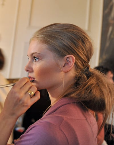 Photos of Catwalk Runway Models Nicole Fahri Show London Fashion Week Spring 2009. Backstage: Pink Lips Ponytails and Pale Skin