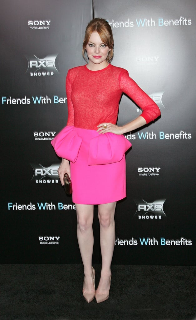 Though Emma Stone's colorblock Giambattista Valli look is from a few years ago, our hearts skip a beat every time we see this preppy peplum ensemble. Where to Wear: Date night at the most exclusive restaurant in town.