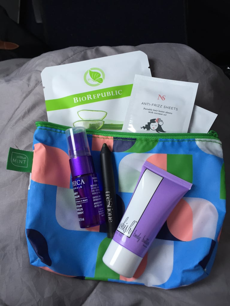 Mine included a cucumber sheet mask, anti-freeze hair sheets, hair serum, body butter, and a long-lastinig eye shadow crayon. I loved the little zippered pouch!