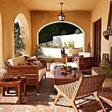 Brown Woven Geo Girona Outdoor Accent Chair