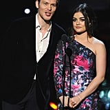 Lucy Hale presented alongside Joseph Morgan.