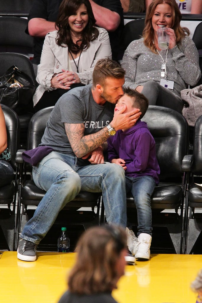David Beckham and Cruz Beckham watched courtside while the LA Lakers played the Dallas Mavericks at home in April 2012.