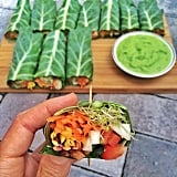 These wraps are a must for veggie-lovers: alfalfa sprouts, cucumber, red pepper, and carrots make for a crisp, raw collard wrap. A spicy avocado dip adds a touch of creaminess.