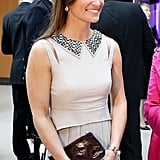 Pippa usually goes for more classic styling, so the cut-outs and metallic angular collar of this Suzannah gown are a bit different for her. She could well try something bold and different on her big day, especially since Giles Deacon is known for his innovative styling.