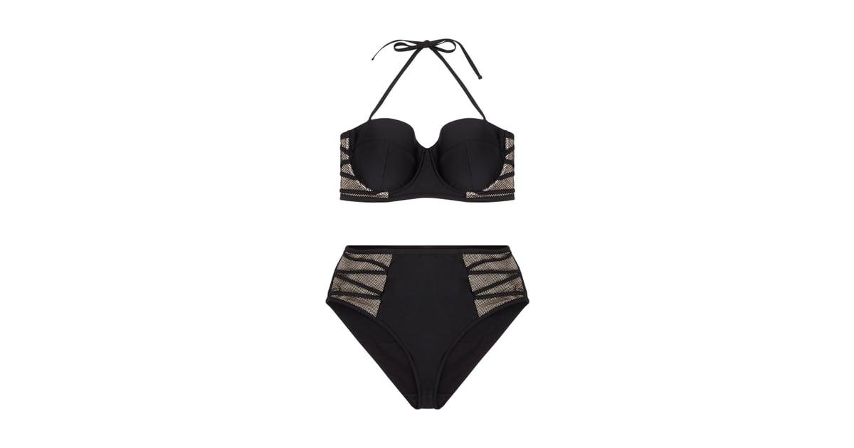 6596f0426cc26 Hunter McGrady Plus Size Curve Black Mesh Insert Bikini