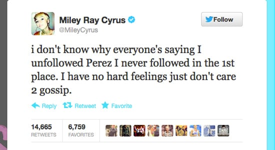 Miley sets the record straight.