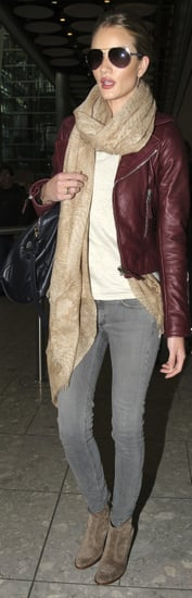 Rosie Huntington-Whiteley in Red Leather Jacket