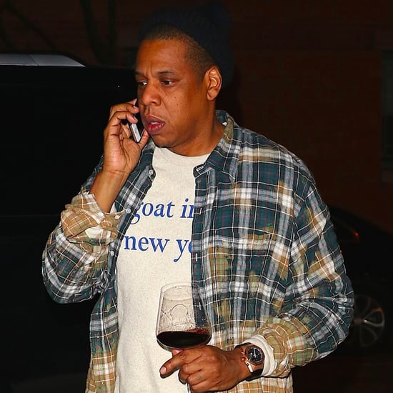 Jay Z Wearing a Goat Shirt and Drinking Wine in NYC 2017