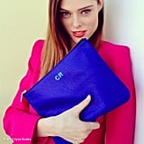 Coco Rocha showed off her bright-blue monogrammed Rebecca Minkoff clutch. Source: Coco Rocha on WhoSay