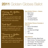 photo relating to Golden Globe Ballots Printable referred to as Printable Golden Planet Awards Ballot For 2011 Nominees
