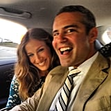 Sarah Jessica Parker shared a car with Andy Cohen on their way to NY Fashion Week. Source: Instagram user bravoandy
