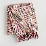 Pink Multicolor Stitch Fringe Throw Blanket