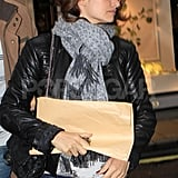 Penelope Cruz had a scarf around her neck in London.