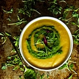 Roasted Sweet Potato and Butternut Squash Soup With Cilantro Sauce