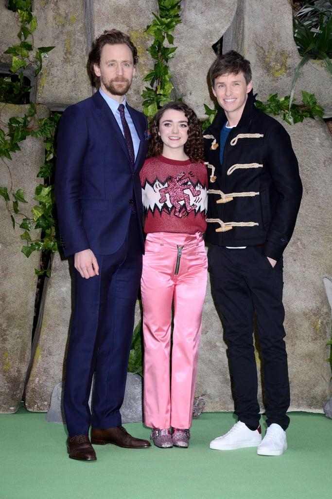 Pictured: Tom Hiddleston, Maisie Williams, and Eddie Redmayne.