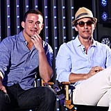 Channing Tatum and Matthew McConaughey both looked handsome in button-ups as they answered questions about stripping for Magic Mike.